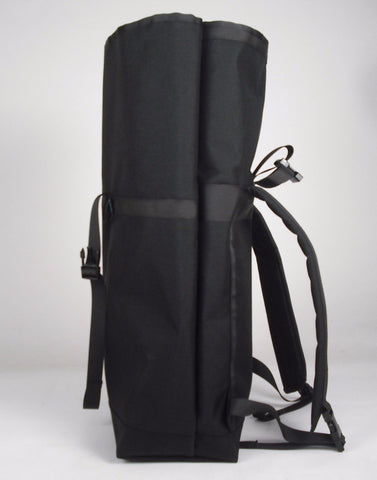 Black Roll Top Backpack by Mer Bags