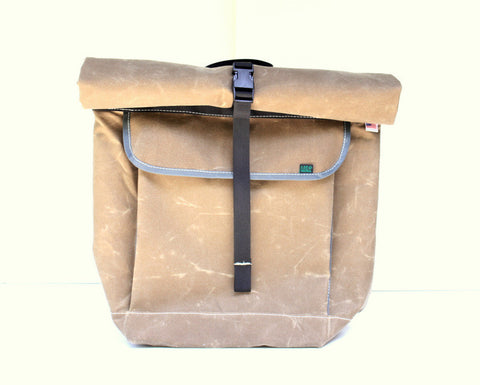Mer Bags Waxed Canvas Roll Top Bike Backpack