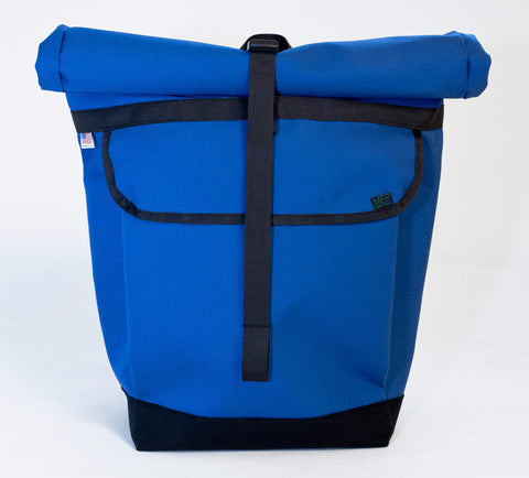 Blue Roll Top Bike Backpack by Mer Bags