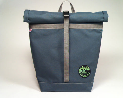 Mer Bags Grey Roll Top Bike Backpack