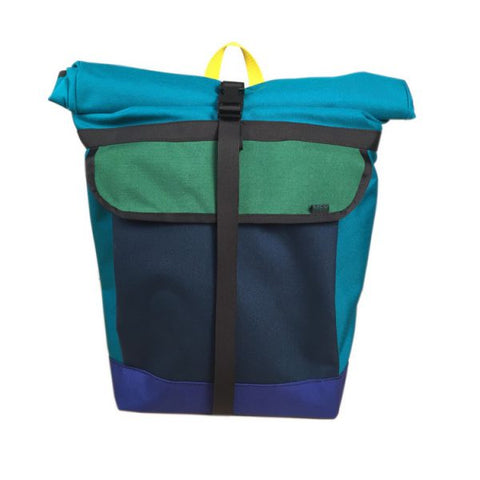Turquoise Colorful Roll Top Bike Backpack by Mer Bags