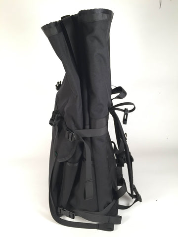 XL Black Roll Top Backpack by Mer Bags