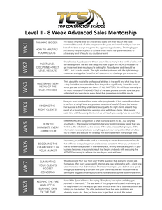 8 Week Sales Mentorship Program - Level 2 (1 on 1 Coaching)