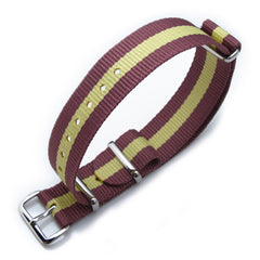 18mm MiLTAT G10 - Burgundy Red & Yellow Stripes, P