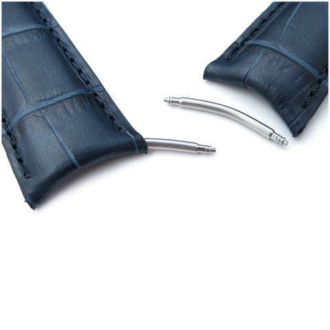 MiLTAT Dark Blue CrocoCalf Curved end, Blue St.