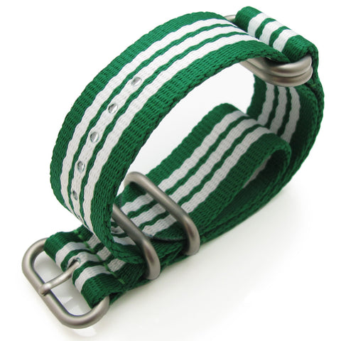 22mm MilTaT  Zulu nylon Green, White