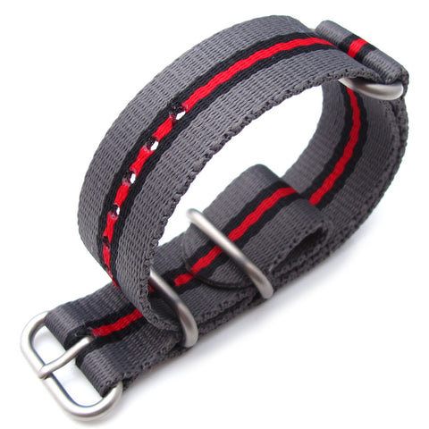 MiLTAT Zulu Nylon - Grey, Black & Red, Brush