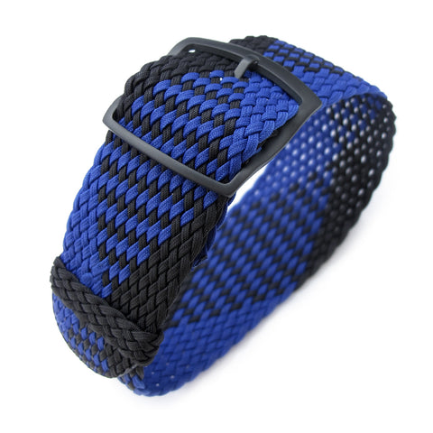 Perlon strap, Black & Blue, PVD Black