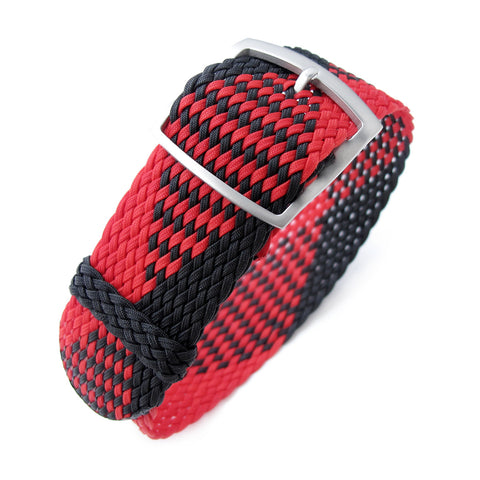 Perlon strap, Black & Red, Sandblasted