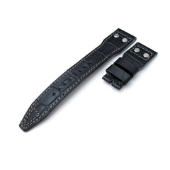 22mm MiLTAT Black CrocoCalf Rivet, for IWC