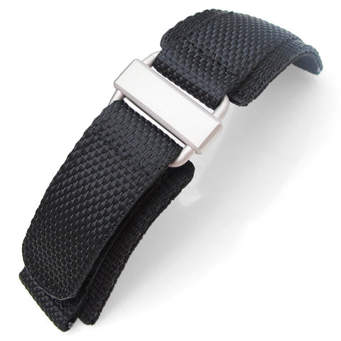 MiLTAT Black Nylon Hook and Loop Fastener Watch Strap