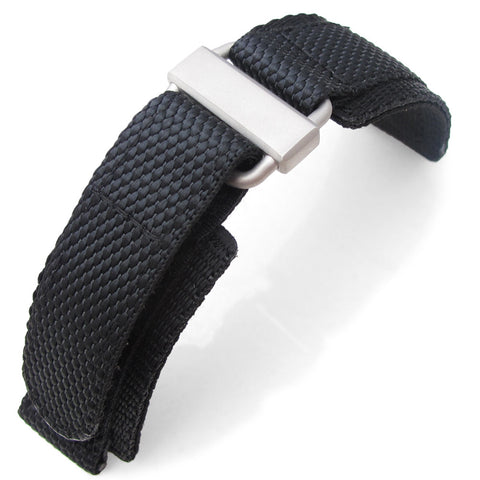 MiLTAT Black Nylon Hook and Loop Fastener Watch Strap, XL
