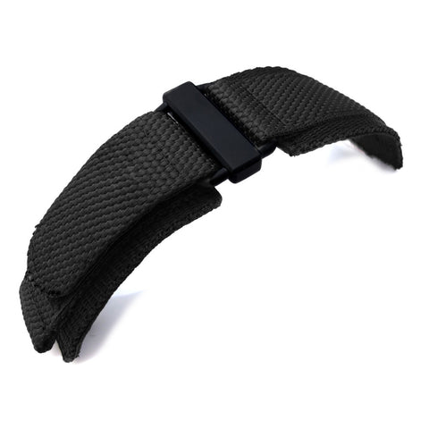 MiLTAT Nylon Hook and Loop Fastener Watch Strap, PVD Black