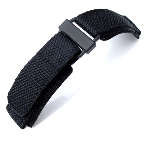 MiLTAT Nylon Hook and Loop Fastener Watch Strap, PVD Black XL