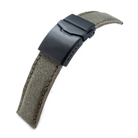 22mm MiLTAT Military Green Washed Canvas, Button Chamfer PVD