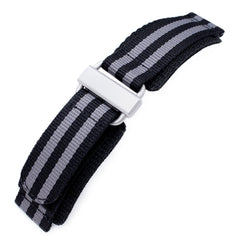 Black & Grey Nylon Hook-and-loop watch strap, Sandblasted