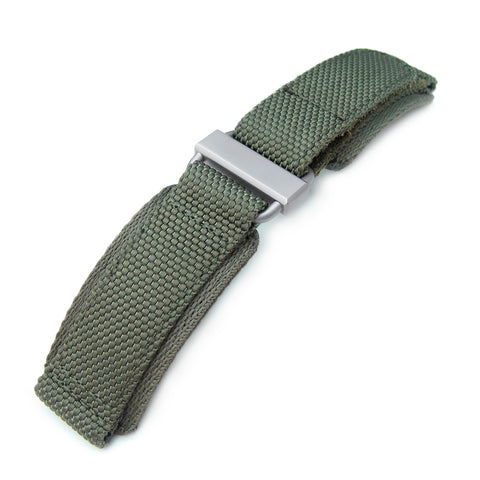 MiLTAT Military Green Nylon Hook and Loop Fastener Watch Strap, Brushed, XL