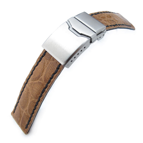 21mm MiLTAT Honey Brown CrocoCalf, Black St., Button Chamfer