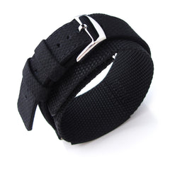 MiLTAT Double Layer Black Nylon Hook and Loop Fastener Watch Strap, Polished (for IWC)