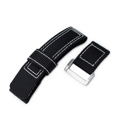 Black Nylon Hook and Loop Fastener Watch Strap, White Stitch, Brushed