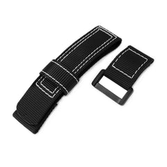 Black Nylon Hook and Loop Fastener Watch Strap, White Stitch, PVD