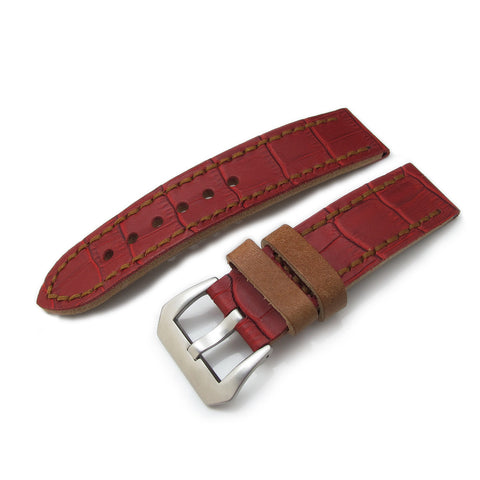 22mm MiLTAT Antipode Matte Red CrocoCalf