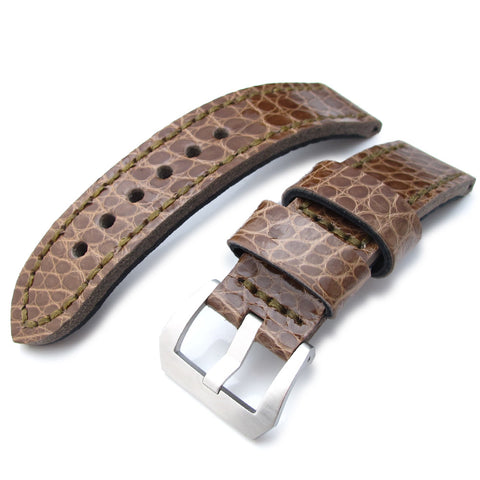 22mm MiLTAT Brown Alligator, Green St. XL