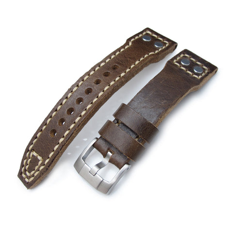 21, 22mm MiLTAT Rivet Genuine Leather, Brown