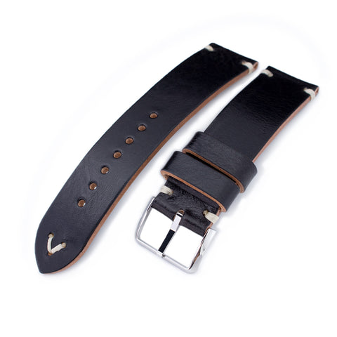 MiLTAT Black Calf Leather, Beige St. Polished