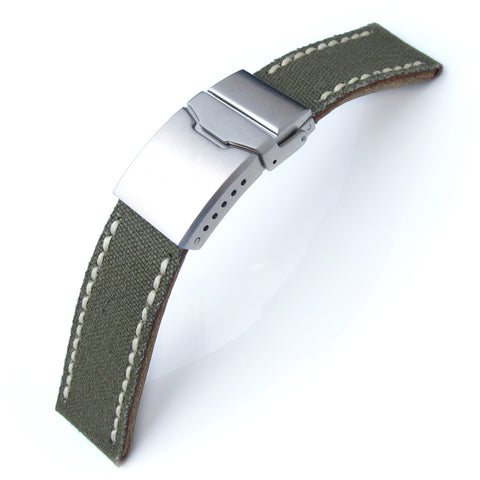 22mm MiLTAT Military Green Canvas Chamfer Clasp