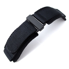 MiLTAT Black Nylon Hook and Loop Fastener Watch Strap for BR-01, PVD Black