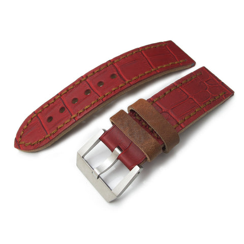 24mm MiLTAT Antipode Matte Red CrocoCalf