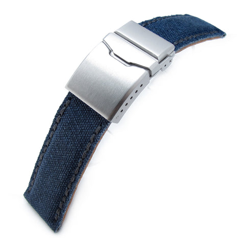 24mm MiLTAT Navy Washed Canvas, Button Chamfer