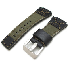 MiLTAT Black + Military Green Canvas Hand Stitch for Bell & Ross BR01