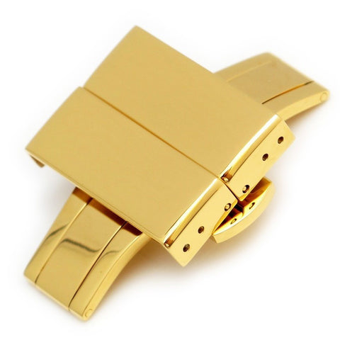 316L IP Gold SS Deployant Clasp with Button