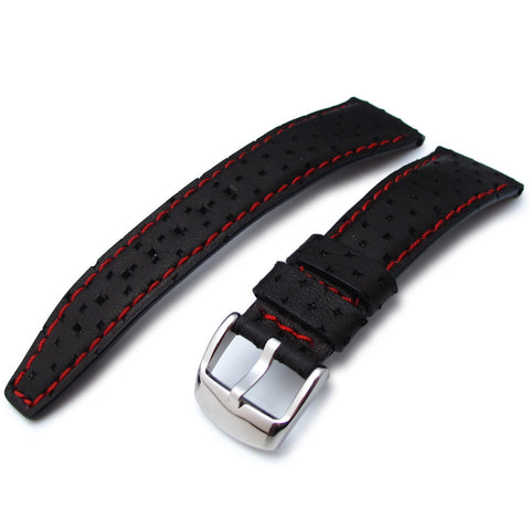 22mm Black Semi-perforated Texture Calf Watch Strap