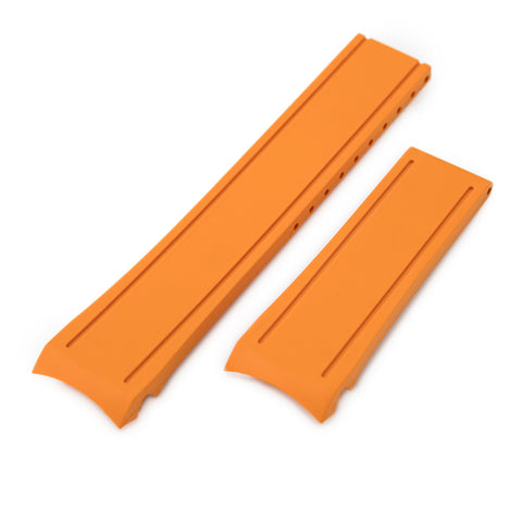 Orange Curved End Rubber for Seiko MM300 SBDX001, No Buckle