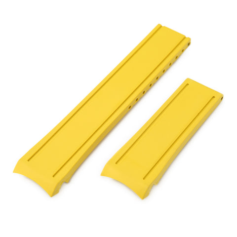 Yellow Curved End Rubber for Seiko MM300 SBDX001, No Buckle