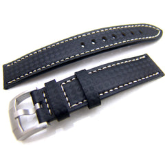 18mm Carbon Fiber Black Watch Strap
