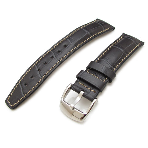 20mm CrocoCalf Charcoal Watch Strap
