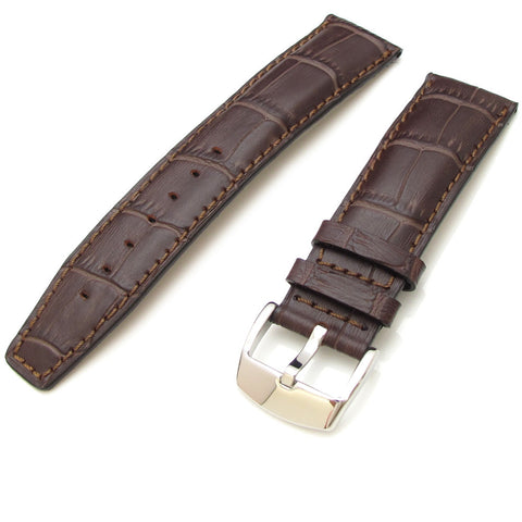 Maroon CrocoCalf Strap with Polished Buckle