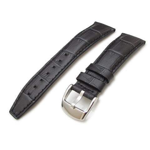 22mm CrocoCalf Charcoal Watch Strap