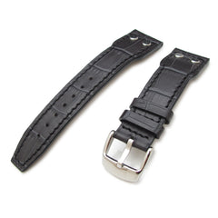 22mm CrocoCalf Charcoal Pilot Watch Strap