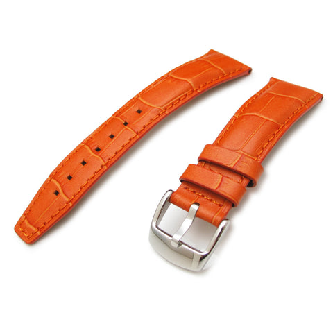 CrocoCalf Orange Matte Watch Strap