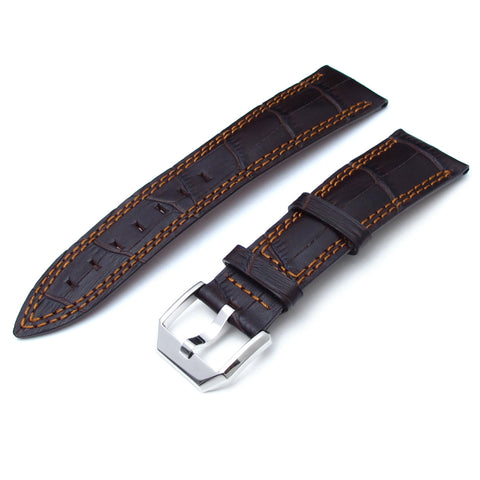 CrocoCalf Matte Brown in Antique Copper Stitch Semi-Curved Lug