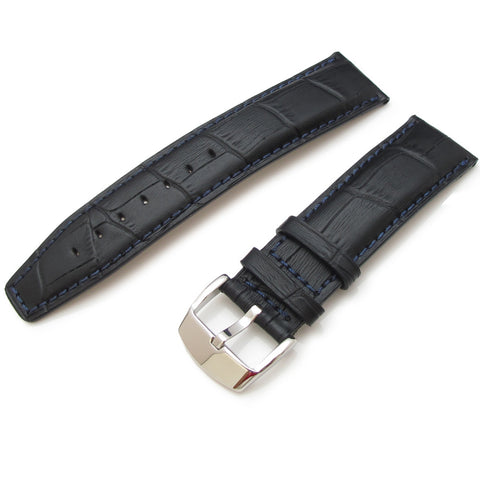Black CrocoCalf Strap with Polished Buckle