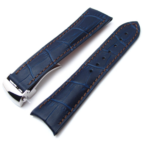 CrocoCalf Matte Blue in Brown Stitch, Roller Deployant P