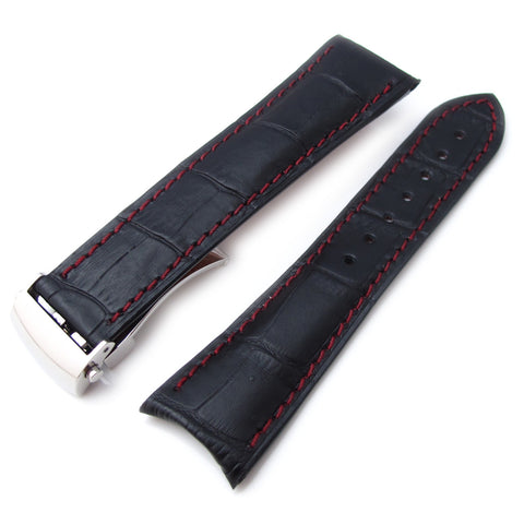 CrocoCalf Matte Black in Red Stitch, Roller Deployant P