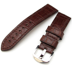 24mm Choco Crocodile Skin, Square Pattern