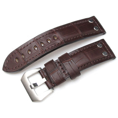 24mm Matte Maroon Alligator Head Leather Watch Strap, Rivet Lug